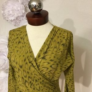 MAX MARA leopard wool wrap sweater M